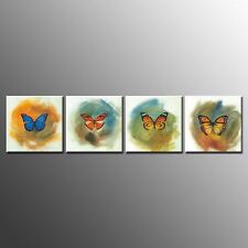 FRAMED Modern Canvas Prints Painting Butterfly Pictures for Wall Art Decor-4pcs