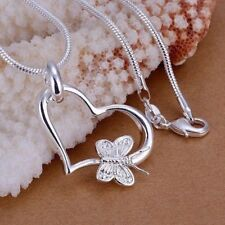 Silver 925 plated heart shaped necklace cute gift beautiful costume jewellery