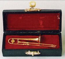 1:12th Metal Trombone & Black Case Dolls House Miniature Music Instrument 157