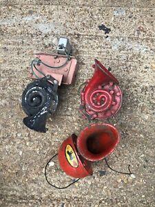3 Vintage Car Horns For Restoration Lucas Clearhooter X2 Bull Horn X1