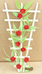 Red Roses Fixed On A Natural Finish Wooden Trellis Tumdee 1:12 Scale Dolls House