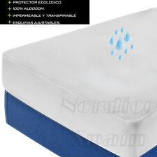 Protector de colchón Impermeable transpirable 100% Algodón y/o funda almohada im