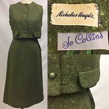 Vintage 1960's Nicholas  00004000 Ungar Jo Collins Green Wool Suit Set Vest S/M
