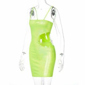 Spring Side Hollow Out Sequins Bodycon Sexy Backless Solid Spaghetti Strap Women