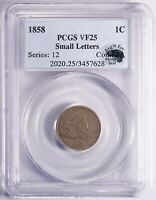 1858 FLYING EAGLE CENT - Small Letters SL - PCGS VF25 - EAGLE EYE PHOTO SEAL
