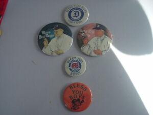 "Lot of 5 1968-84 Detroit Tigers  ""Bless You Boys""  Pinbacks Pins"
