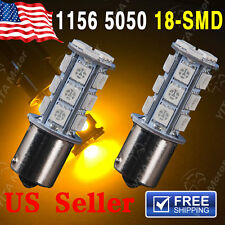 2x Amber/Yellow 1156 BA15S 18SMD LED Light bulbs Turn Signal Backup Reverse 7527