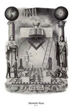 RARE Set Masonic Symbolic Plate art ring 12x18 chart trestle tracing board print