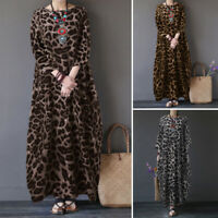 ZANZEA Women Casual Holiday Leopard Print Long Shirt Dress Kaftan Midi Sundress