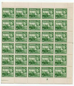 MALTA KGVI 1d *** WHOLE SHEET of 60 STAMPS ***