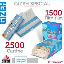 2500 Cartine GIZEH SPECIAL CORTE EXTRA FINE 50 pz + 1500 FILTRI RIZLA SLIM 6 mm
