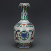 Qing Qianlong mark Chinese old Porcelain antique famille rose flowers Vase