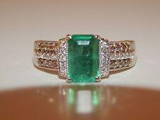 LEVIAN 2.13 tcw  Colombian Emerald Chocolate White Diamond Ring 14K Engagement