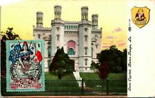 Vtg Postcard 1910 State Capitol Baton Rouge LA w New Orleans Logical Point Stamp
