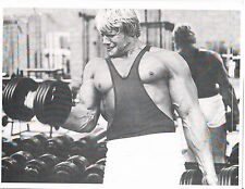 Bodybuilder Dave Draper Mr Universe Bodybuilding 85 lb Dumbell Curls Photo B&W