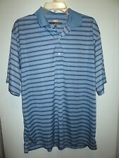 Greg Norman Blue Polo Large Striped Play Dry Cotton Polyester