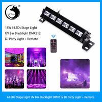 6 LEDs 18W UV Bar Black Light Stage Lighting DMX512 DJ Club Party Light +Remote