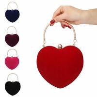 Womens Heart Shape Clutch Bag Messenger Shoulder Handbag Tote Evening Bag Purse
