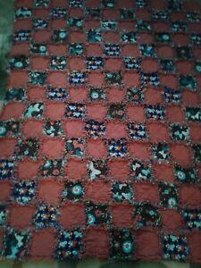 Soft Handmadw Orange Butterflies and Flowers Flannel Throw Rag Quilt