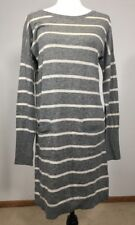 New zinni by Garnet Hill Wool Blend Sweater Dress Gray Long Sleeves Thumb loops