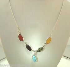 "925 Silver Genuine Baltic Sea Mixed Marquise Amber Larimar Gems Necklace 18"" #1"