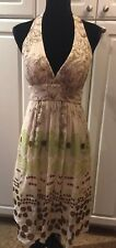 Max and Cleo Silk V-neck Cocktail Formal Halter Dress Sz 6 Cream Brown Green