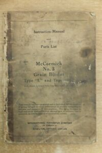 McCormick no 3 grain binder instructions & parts list book vintage