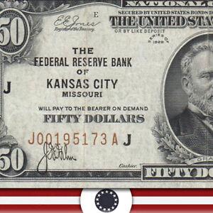 1929 $50 KANSAS CITY FRBN Federal Reserve Bank Note Fr 1880-J  J00195173A-OSZ