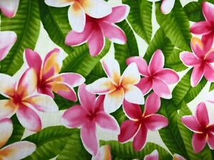 Cotton Pink Plumeria on Cream Hawaiian Print Fabric sold by the yard