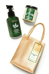 BATH & BODY WORKS GIFT BAG SET EUCALYPTUS SPEARMINT HAND SOAP SCENTED CANDLE NEW