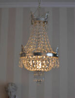 Kronleuchter Antik Lüster Silber Kristall Deckenlüster  Messing Maria Theresia