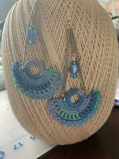 Dangle Earrings Crochet Fan