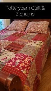 Pottery Barn Georgia Red Green Patchwork Cotton Queen Quilt And 2 Standard Shams