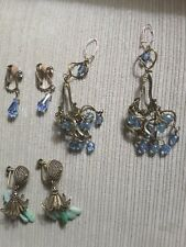 3  Pair Vintage Earrings Chandelier Blue Stone Goldtone 2 Clip 1 Pierced