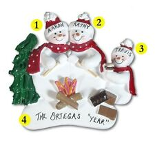 Personalized Snowman Camping Family of 3 Christmas Ornament