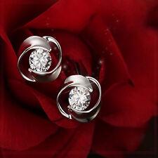 1Pair Women Silver Plated Cute Crystal Rhinestone Ear Stud Earring Hot Jewelry