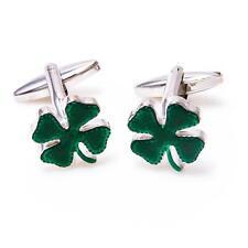 Clover Green Irish Ireland Shamrock Pair of Cufflinks Wedding Gift Box Free Ship