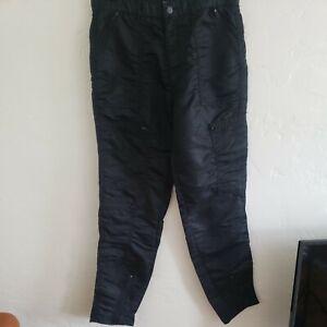 """vintage 80's parachute pants black bugle boy zippers 31"""" w 32"""" L nylon countdown"""