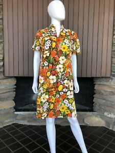 Vintage 60s 70s Hawaiian Bark Cloth Muumuu Mod Dress