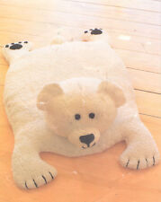 "Vintage Baby Toy Polar Bear Rug Knitting Pattern DK 21"" X 28"""