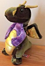 """FLYING DRAGON green & purple 6.5"""" velvet plush by Douglas"""