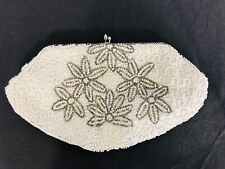 Vintage 1950's Beaded Bridal Clutch White Silver Ivory Made In Belgium