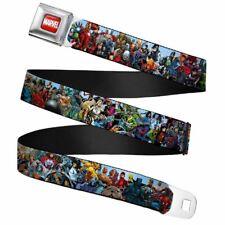 """Marvel Universe Heroes & Villains Portrait Seatbelt Buckle Web Belt (20-36"""")"""