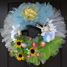 "Huge 25"" Beautiful Easter Wreath - Rabbit On A Field"
