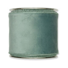 Sage Green Velvet fabric ribbon 100mm wide on 8m roll Wired edge