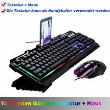 Gaming Tastatur Keyboard Maus Set RGB LED USB Mechanisch für PC Laptop PS4 DE