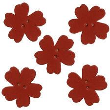 Flor de cuero plana roja Die Cut 2 agujero encantos 25 mm paquete de 5 (P12/2)