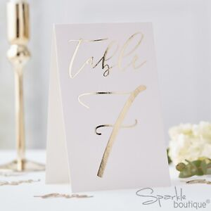 GOLD & WHITE TABLE NUMBER CARDS (1 to 12) - Freestanding Tent Cards - Wedding
