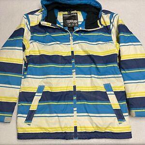 Sessions Terrain Size Large  Blue Striped Snowbroading Jacket Waterproof 10k mm