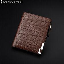 Male Business Casual Fashion Lattice Long Section Zipper Wallet Dark Coffee